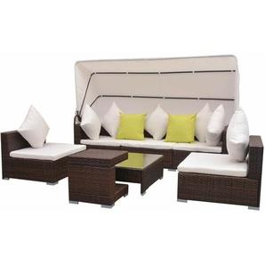7-tlg. Garten-Lounge-Set mit Sonnendach Poly Rattan Braun - VIDAXL