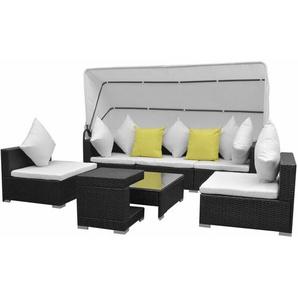 7-tlg. Garten-Lounge-Set mit Sonnendach Poly Rattan Schwarz - VIDAXL
