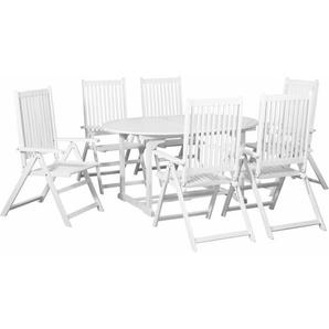7-tlg. Outdoor-Essgarnitur Weiß mit ausziehbarem Tisch Holz - VIDAXL