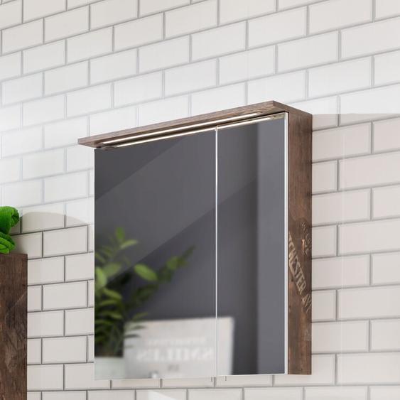 70.5 cm x 72.5 cm Spiegelschrank Renteria mit Beleuchtung