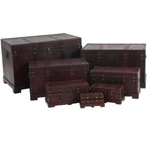 7er Set Holztruhe Holzbox Schatztruhe Valence Antikoptik 10x21x10 bis 49x77x47cm ~ eckig