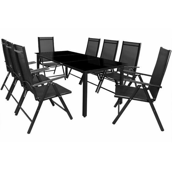 8+1 Sitzgruppe Alu Bern Klappstühle Gartentisch 190x90cm Sitzgarnitur Gartenmöbel Set anthrazit - Casaria