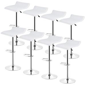 8 Barhocker höhenverstellbar mit Fußstütze und Rückenlehne für Küche Weiß - OOBEST