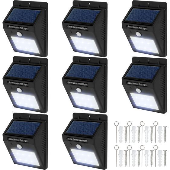 8 LED Solar Leuchten mit Bewegungsmelder - schwarz