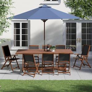 8-Sitzer Gartengarnitur mit Sonnenschirm