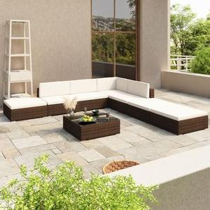 8-tlg. Garten-Lounge-Set mit Auflagen Poly Rattan Braun - VIDAXL
