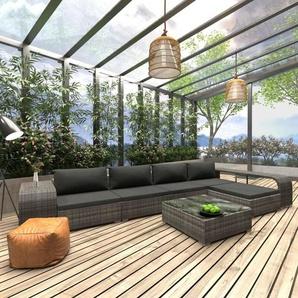 8-tlg. Garten-Lounge-Set mit Auflagen Poly Rattan Grau