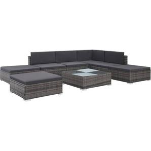 8-tlg. Garten-Lounge-Set mit Auflagen Poly Rattan Grau - VIDAXL