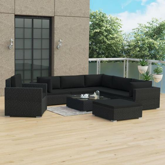 8-tlg. Garten-Lounge-Set mit Auflagen Poly Rattan Schwarz