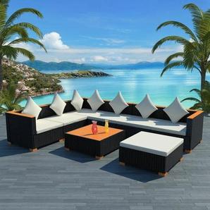 8-tlg. Garten-Lounge-Set mit Auflagen Poly Rattan Schwarz - VIDAXL