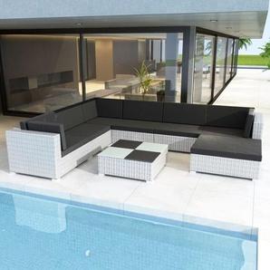 8-tlg. Garten-Lounge-Set mit Auflagen Poly Rattan Weiß - VIDAXL