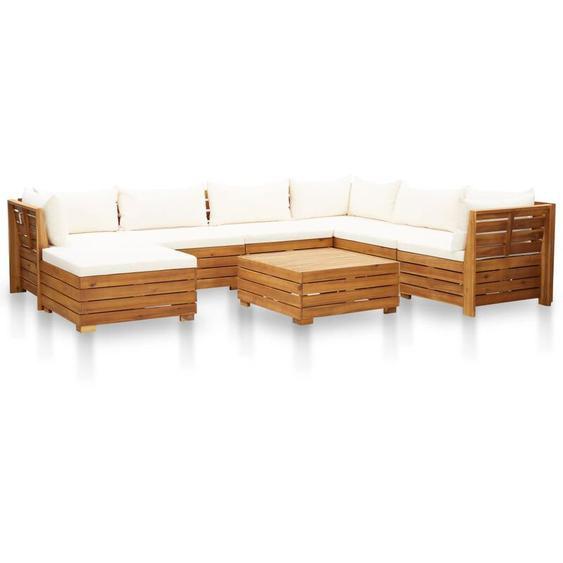 8-tlg. Garten-Sofagarnitur mit Auflagen Akazienholz Cremeweiß