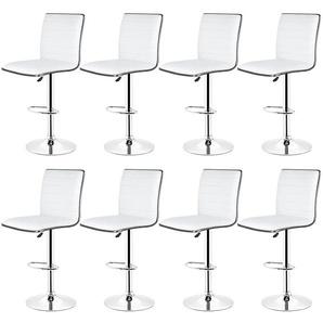 8er-Set Barhocker aus Kunstleder höhenverstellbar Weiß - OOBEST