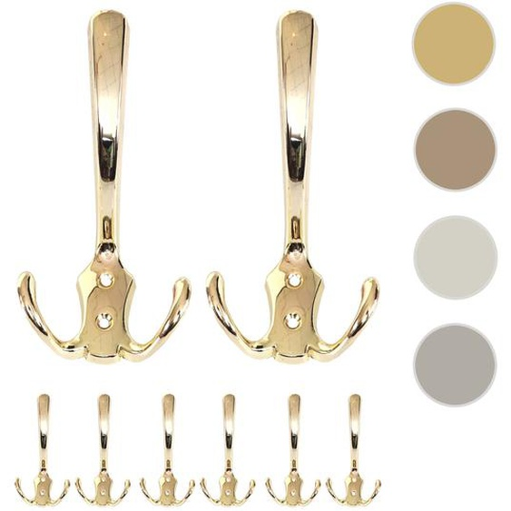 8x Garderobenhaken HWC-D46, Haken Wandhaken Kleiderhaken Set ~ Farbe: gold