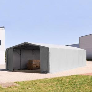 8x12 m Zelthalle - 3,0 m Seitenhöhe mit Reißverschlusstor, PVC 720 g/m² grau | mit Statik (Erduntergrund)