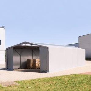 8x12 m Zelthalle - 3,0 m Seitenhöhe mit Reißverschlusstor und Oberlichtern, PVC 720 g/m² grau | ohne Statik