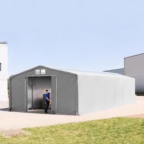 8x12 m Zelthalle - 3,0 m Seitenhöhe mit Schiebetor und Oberlichtern, PVC 720 g/m² grau | ohne Statik