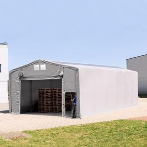8x12 m Zelthalle - 3,6 m Seitenhöhe mit Hochziehtor und Oberlichtern, PVC 550 g/m² grau | ohne Statik