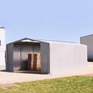 8x12 m Zelthalle - 3,6 m Seitenhöhe mit Reißverschlusstor und Oberlichtern, PVC 550 g/m² grau | mit Statik (Erduntergrund)