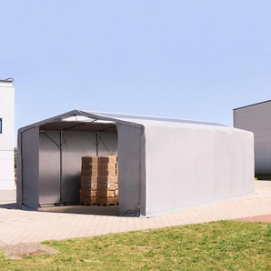 8x12 m Zelthalle - 3,6 m Seitenhöhe mit Reißverschlusstor und Oberlichtern, PVC 550 g/m² grau | ohne Statik