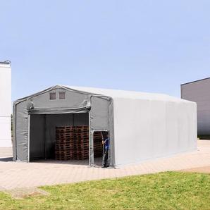8x12 m Zelthalle - 4,0 m Seitenhöhe mit Hochziehtor, PVC 720 g/m² grau | mit Statik (Erduntergrund)