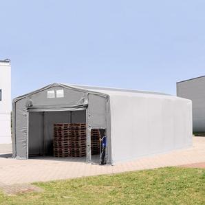 8x12 m Zelthalle - 4,0 m Seitenhöhe mit Hochziehtor und Oberlichtern, PVC 720 g/m² grau | mit Statik (Erduntergrund)