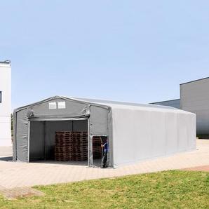 8x16 m Zelthalle - 3,0 m Seitenhöhe mit Hochziehtor und Oberlichtern, PVC 550 g/m² grau | mit Statik (Betonuntergrund)