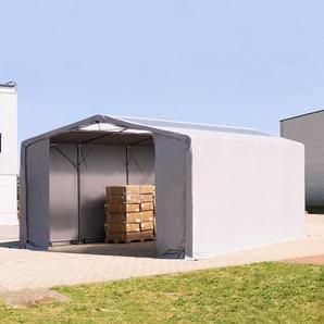 8x8 m Zelthalle - 3,6 m Seitenhöhe mit Reißverschlusstor und Oberlichtern, PVC 550 g/m² grau | ohne Statik