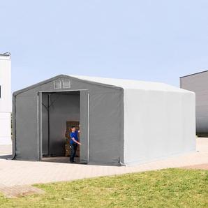 8x8 m Zelthalle - 4,0 m Seitenhöhe mit Schiebetor, PVC 720 g/m² grau | mit Statik (Erduntergrund)