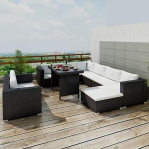 9-Sitzer Lounge Set Delrico aus Polyrattan mit Polster