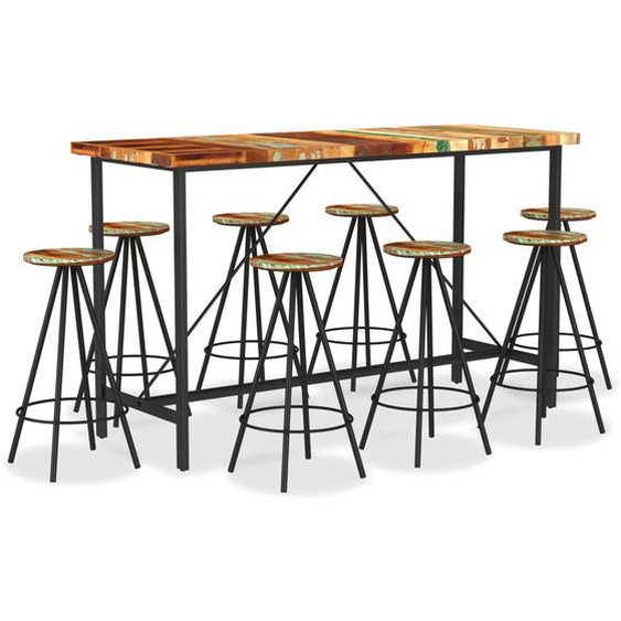 9-tlg. Bar-Set Recyceltes Massivholz