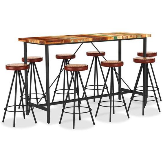 9-tlg. Bar-Set Recyceltes Massivholz, Echtleder und Canvas