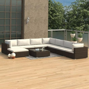 9-tlg. Garten-Lounge-Set mit Auflagen Poly Rattan Braun - VIDAXL