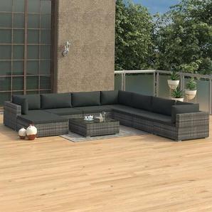 9-tlg. Garten-Lounge-Set mit Auflagen Poly Rattan Grau - VIDAXL