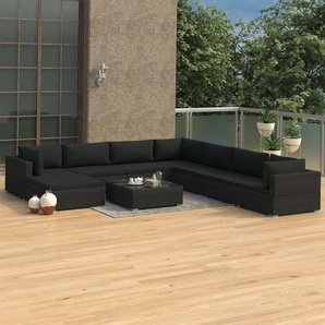 9-tlg. Garten-Lounge-Set mit Auflagen Poly Rattan Schwarz - VIDAXL