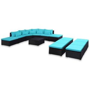 9-tlg. Garten-Sofagarnitur mit Kissen Blau Poly Rattan - VIDAXL