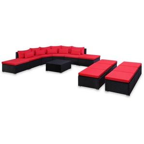 9-tlg. Garten-Sofagarnitur mit Kissen Rot Poly Rattan - VIDAXL