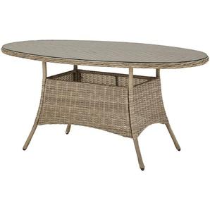 a casa mia Tisch  Florenz 2 ¦ creme ¦ Aluminium pulverbeschichtet/ PE-Geflecht ¦ Maße (cm): B: 91,5 H: 75