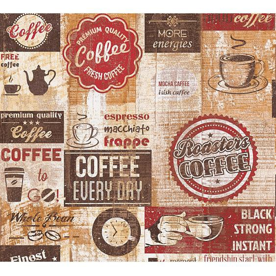 A.S. Creation Papiertapete Simply Decor Coffee all over Rot
