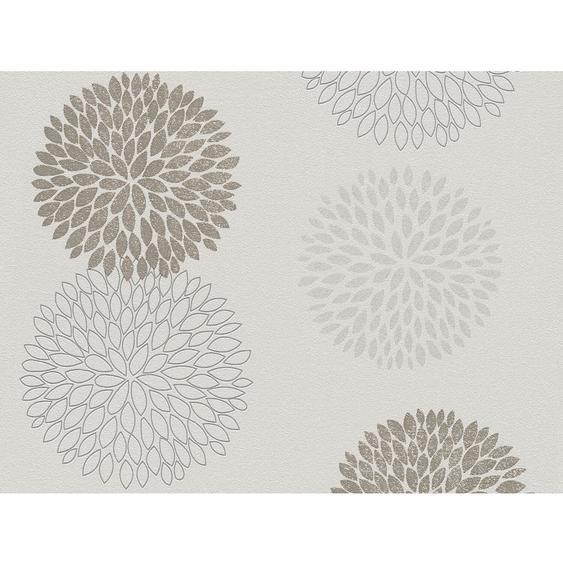 A.S. Création Vliestapete Blooming Blumen Braun-Grau Metallic