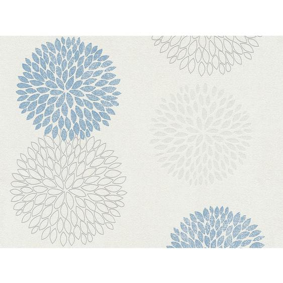 A.S. Création Vliestapete Blooming Blumen Grau-Blau Metallic