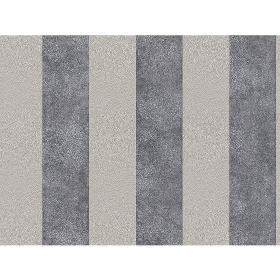 A.S. Création Vliestapete Trendwall Streifen Anthrazit-Silber