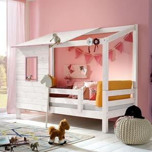 Abenteuerbett für Mädchen Kids Paradise - 90x200 cm - weiß mit Holzstruktur
