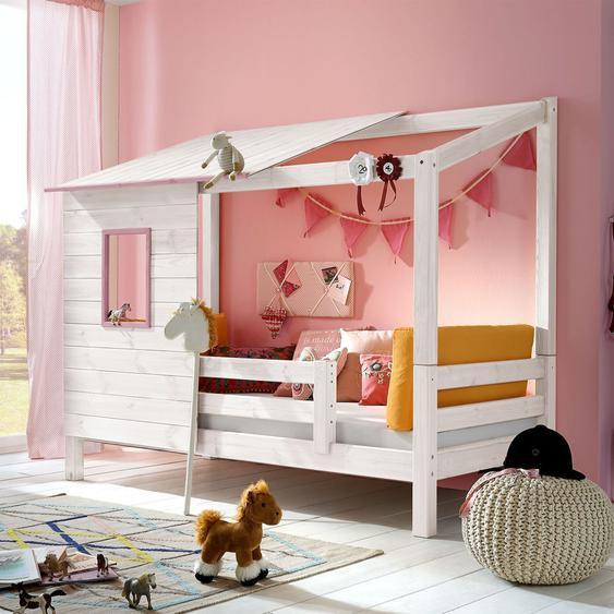 Abenteuerbett Kids Paradise für Mädchen, weiß mit Holzstruktur, 90x200 cm