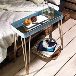 Ablagetisch in Hellblau und Bronzefarben Spiegelglasplatte
