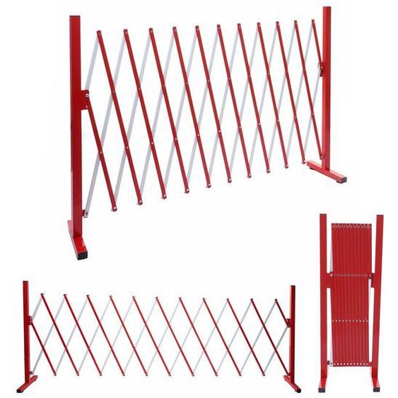 Absperrgitter HWC-B34, Scherengitter Zaun Schutzgitter ausziehbar, Alu rot-wei� ~ H�he 103cm, Breite 37-300cm