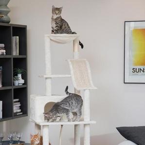 ABUKI Kratzbaum Joy, hoch, BxTxH: 83x46x164 cm B/H/T: 83 x 164 46 beige Kratz- Kletterbäume Katze Tierbedarf