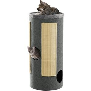 ABUKI Kratzbaum Scratchy, hoch, BxTxH: 46x46x100 cm B/H/T: 46 x 100 grau Kratz- Kletterbäume Katze Tierbedarf