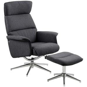 AC Design Alura Relaxsessel 74x111x110cm inkl. Hocker Dunkelgrau/Silber Silber/Dunkelgrau