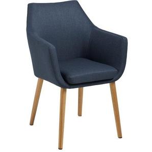 AC Design Nora Armlehnstuhl 58x58x84cm Dunkelblau/Eiche Blau/Natur